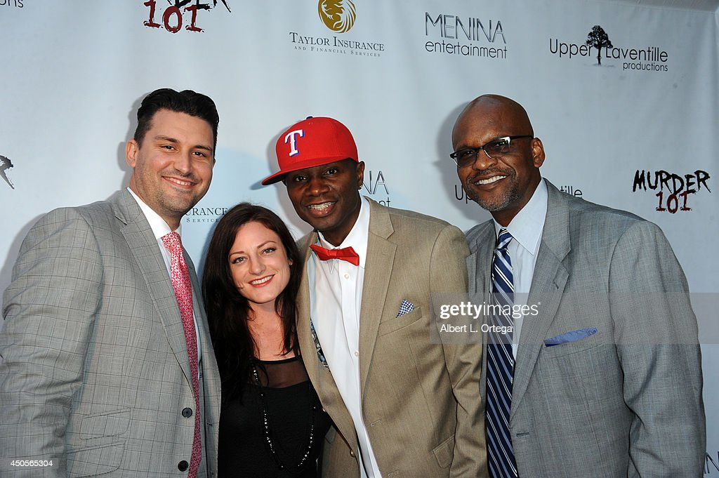 Actor/producer Sheldon Robins and sponsors arrive for the Premiere Of Upper Laventille's'Murder 101' held at Raleigh Studios' Chaplin Theater on June 12, 2014 in Los Angeles, California.