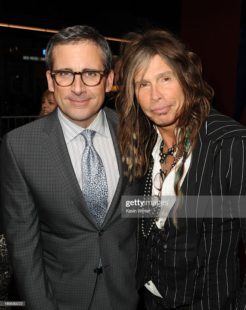 Actor/producer Steve Carell (L) and musician Steven Tyler attend the premiere of Warner Bros. Pictures' 'The Incredible Burt Wonderstone' at TCL Chinese Theatre on March 11, 2013 in Hollywood, California.