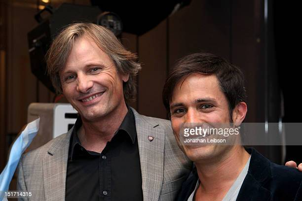 Actor/producer Viggo Mortensen and actor Gael Garcia Bernal attend Variety Studio Presented By Moroccanoil At Holt Renfrew Day 3 Toronto on September...