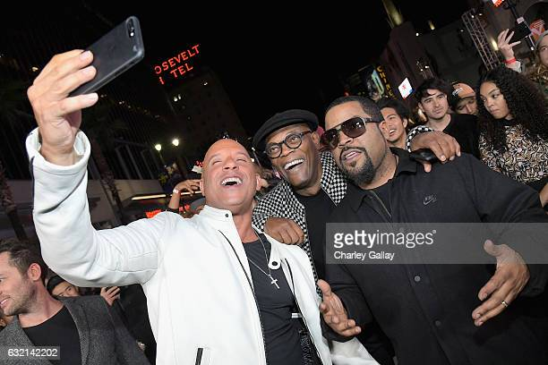 Actor/producer Vin Diesel actor Samuel L Jackson attend the LA Premiere of the Paramount Pictures title 'xXx Return of Xander Cage' at TCL Chinese...