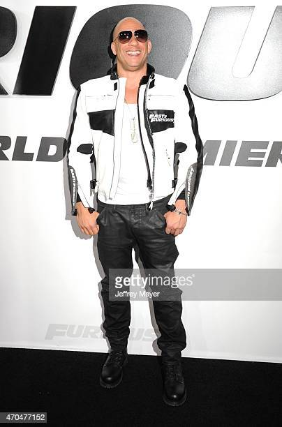 Actor/producer Vin Diesel arrives at the 'Furious 7' Los Angeles Premiere at TCL Chinese Theatre IMAX on April 1 2015 in Hollywood California