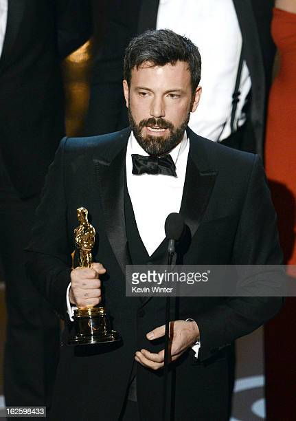 "Actor/producer/director Ben Affleck accepts the Best Picture award for ""Argo"" onstage during the Oscars held at the Dolby Theatre on February 24 2013..."