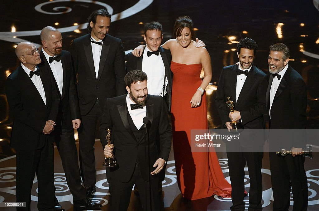 "Actor/producer/director Ben Affleck accepts the Best Picture award for ""Argo"" onstage along with members of the cast and crew during the Oscars held at the Dolby Theatre on February 24, 2013 in Hollywood, California."