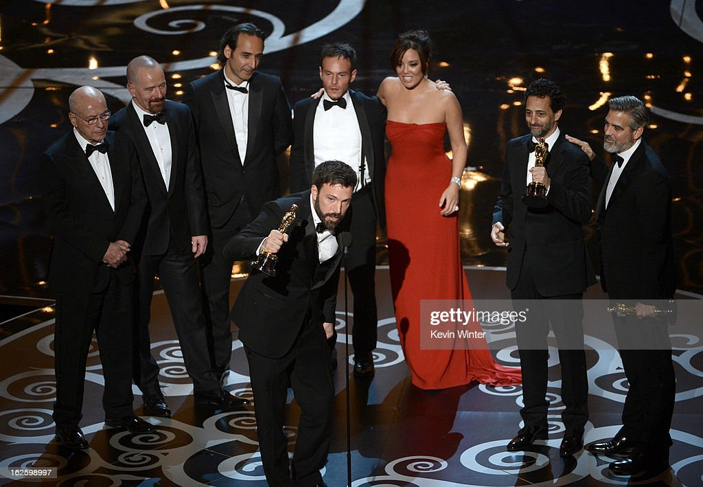 "Actor/producer/director Ben Affleck accepts the Best Picture award for ""Argo"" along with members of the cast and crew onstage during the Oscars held at the Dolby Theatre on February 24, 2013 in Hollywood, California."