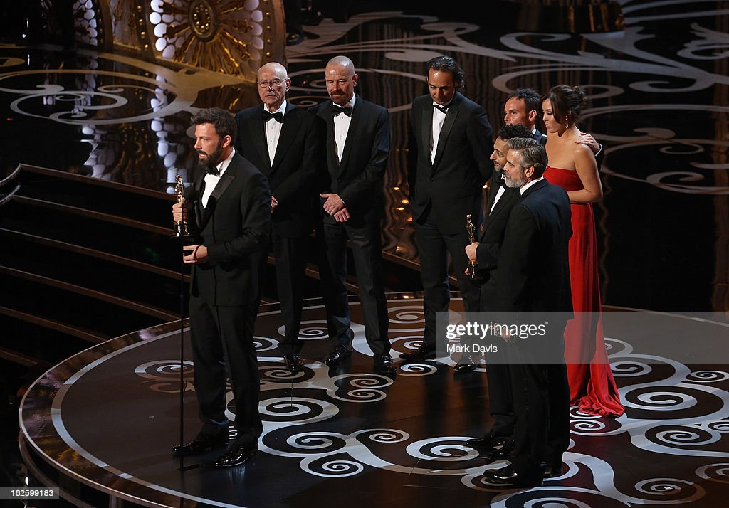 Actor/producer/director <a gi-track='captionPersonalityLinkClicked' href=/galleries/search?phrase=Ben+Affleck&family=editorial&specificpeople=201856 ng-click='$event.stopPropagation()'>Ben Affleck</a> accepts the Best Picture award for Argo along with members of the cast and crew onstage during the Oscars held at the Dolby Theatre on February 24, 2013 in Hollywood, California.