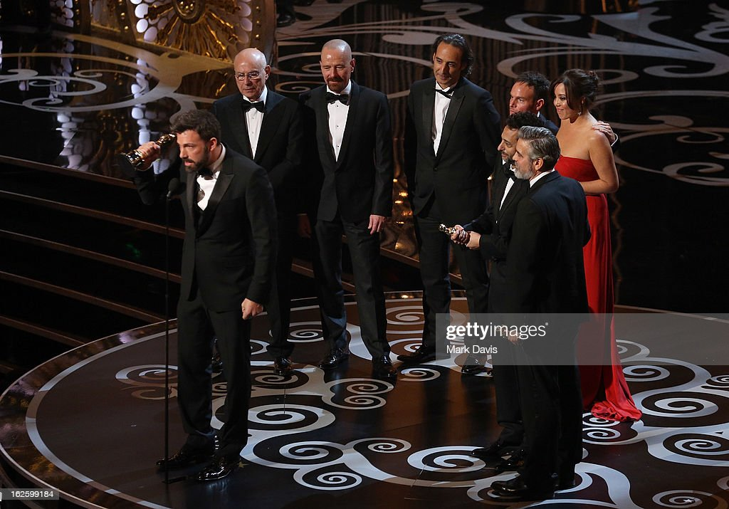 Actor/producer/director Ben Affleck accepts the Best Picture award for Argo along with members of the cast and crew onstage during the Oscars held at the Dolby Theatre on February 24, 2013 in Hollywood, California.