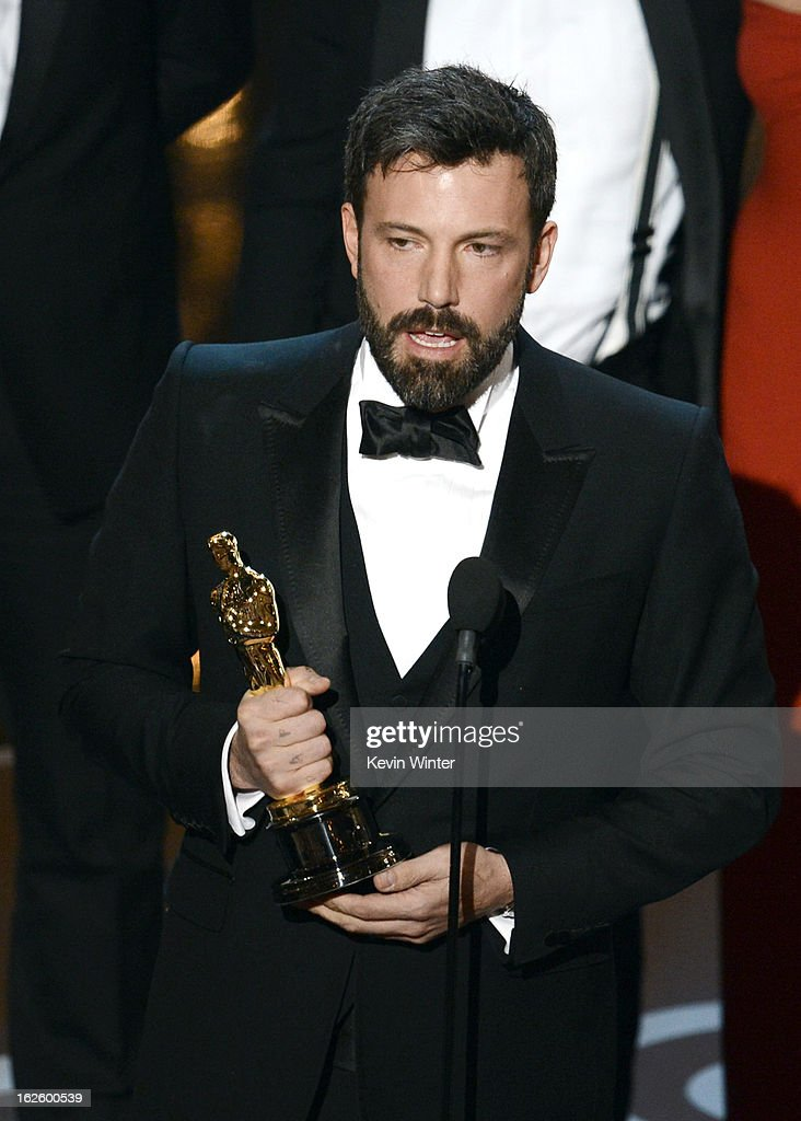 """Actor/producer/director Ben Affleck accepts the Best Picture award for """"Argo"""" along with members of the cast and crew onstage during the Oscars held at the Dolby Theatre on February 24, 2013 in Hollywood, California."""