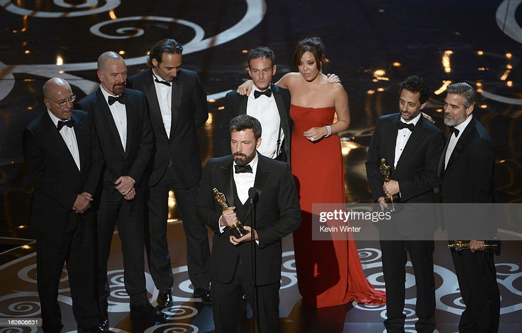 """Actor/producer/director Ben Affleck accepts the Best Picture award for """"Argo"""" onstage along with members of the cast and crew during the Oscars held at the Dolby Theatre on February 24, 2013 in Hollywood, California."""
