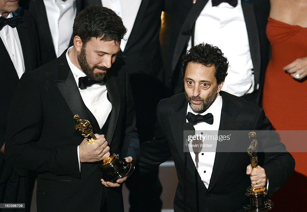 "Actor/producer/director Ben Affleck and producer Grant Heslov along with members of the cast and crew accept the Best Picture award for ""Argo""..."