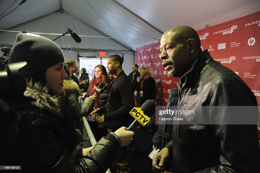 Actor/Producer/Director <a gi-track='captionPersonalityLinkClicked' href=/galleries/search?phrase=Forest+Whitaker&family=editorial&specificpeople=226590 ng-click='$event.stopPropagation()'>Forest Whitaker</a> speaks at the 'Fruitvale' premiere at The Marc Theatre during the 2013 Sundance Film Festival on January 19, 2013 in Park City, Utah.