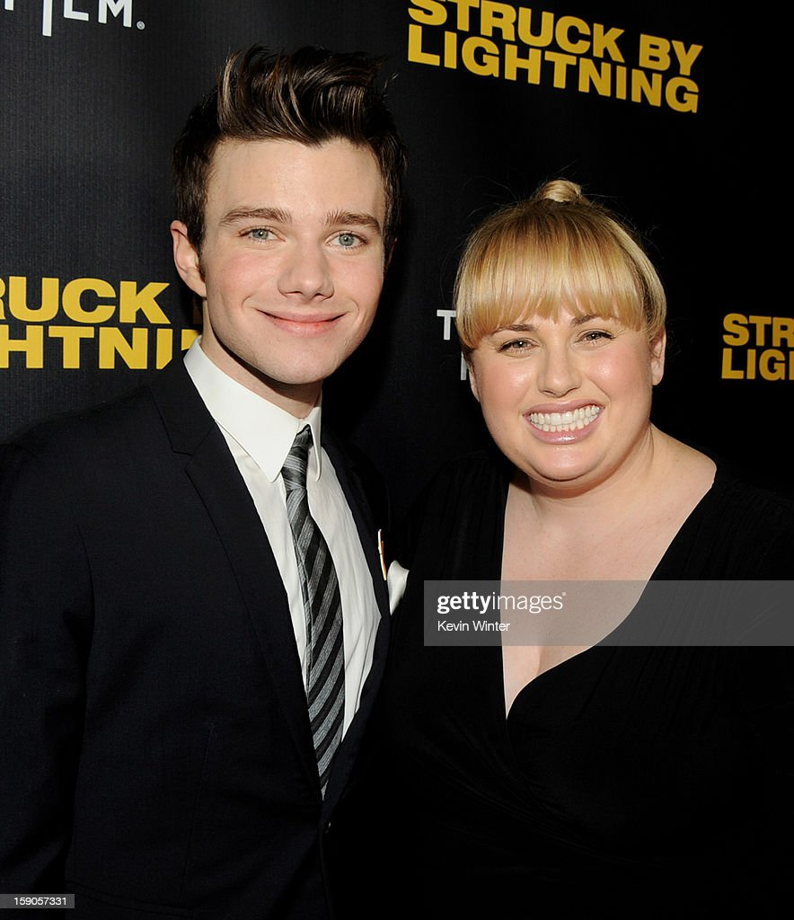 Actor/producer/writer <a gi-track='captionPersonalityLinkClicked' href=/galleries/search?phrase=Chris+Colfer&family=editorial&specificpeople=5662110 ng-click='$event.stopPropagation()'>Chris Colfer</a> (L) and actress <a gi-track='captionPersonalityLinkClicked' href=/galleries/search?phrase=Rebel+Wilson&family=editorial&specificpeople=5563104 ng-click='$event.stopPropagation()'>Rebel Wilson</a> arrive at a screening of Tribeca Film's 'Struck By Lightning' at the Chinese Cinema 6 Theaters on January 6, 2013 in Los Angeles, California.