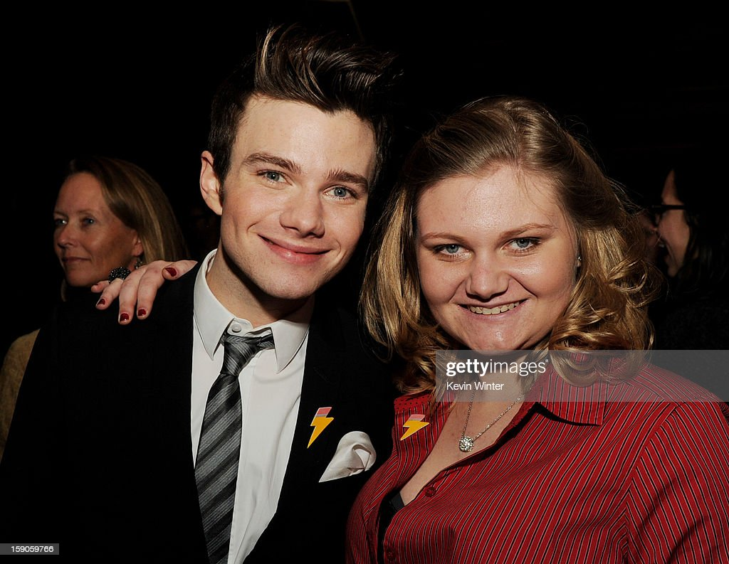Actor/producer/writer Chris Colfer (L) and his sister Hannah pose at the after party for a screening of Tribeca Film's 'Struck By Lightning' at Eden on January 6, 2013 in Los Angeles, California.