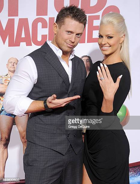 Actor/professional wrestler Mike 'The Miz' Mizanin and wife Maryse Ouellet arrive at the Los Angeles premiere of 'Hot Tub Time Machine 2' at Regency...