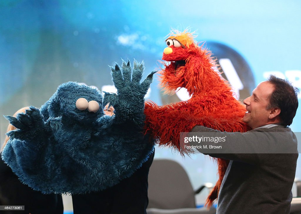 Actor/Puppeteer Joey Mazzarino performs onstage during the 'PBS Kids Update/Sesame Street 45th Season Anniversary' panel discussion at the PBS...
