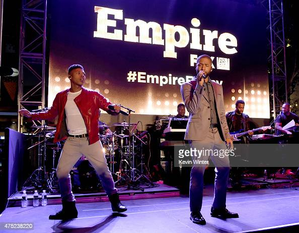 Actor/rapper Bryshere 'Yazz' Gray and actor/singer Jussie Smollett perform at the Television Academy event for Fox Tv's 'Empire' A Performance Under...