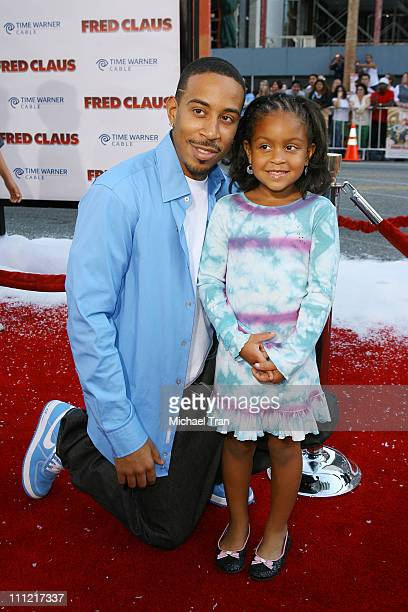 Actor/rapper Chris 'Ludacris' Bridges and daughter Karma arrive at the premiere of Warner Bros' 'Fred Claus' at Grauman's Chinese Theater on November...