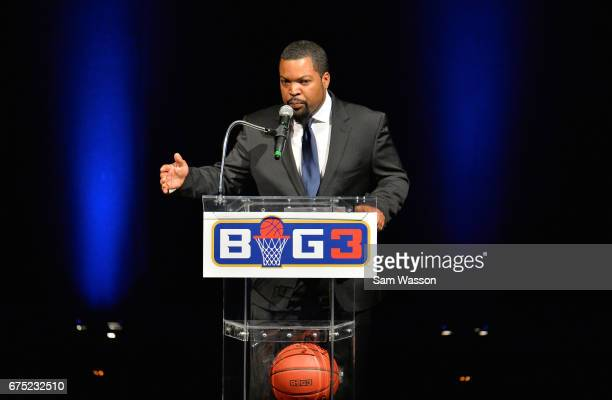 Actor/rapper Ice Cube addresses the crowd at the 2017 BIG3 basketball league draft at Planet Hollywood Resort Casino on April 30 2017 in Las Vegas...