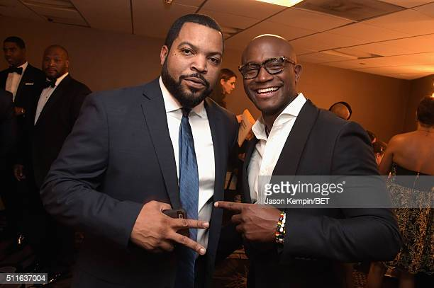 Actorrapper Ice Cube and actor Taye Diggs pose backstage at the 2016 ABFF Awards A Celebration Of Hollywood at The Beverly Hilton Hotel on February...