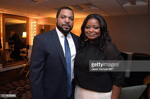 Actorrapper Ice Cube and actress Octavia Spencer pose backstage at the 2016 ABFF Awards A Celebration Of Hollywood at The Beverly Hilton Hotel on...