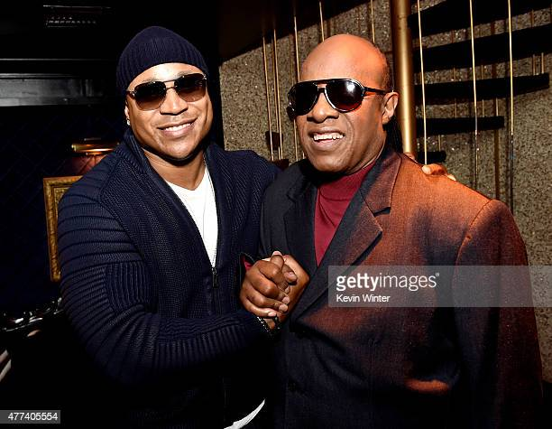 Actor/rapper LL Cool J and singer/songwriter Stevie Wonder pose at the GRAMMY FYC 'For Your Consideration' event For The 57th Annual GRAMMY Awards...