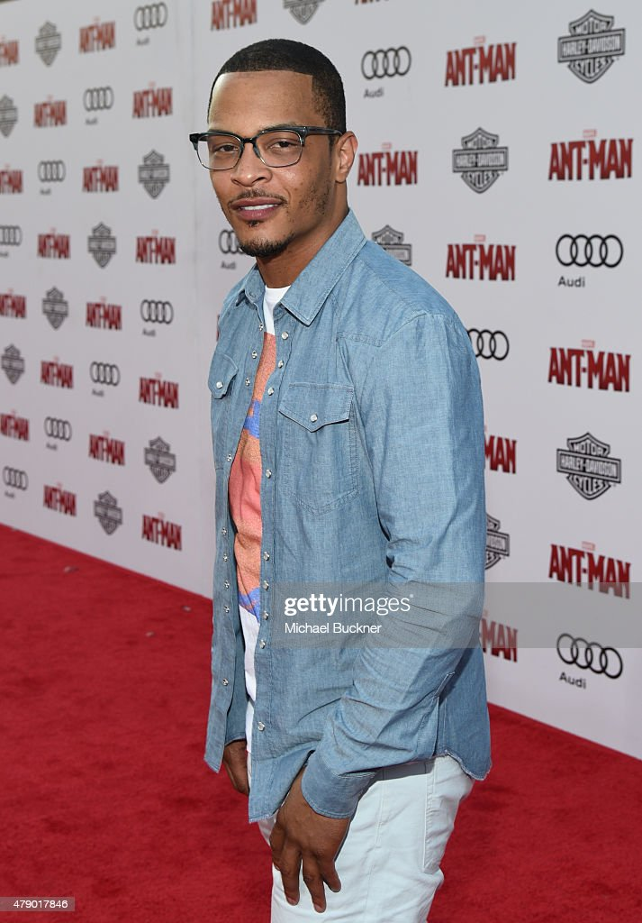 Actor/rapper <a gi-track='captionPersonalityLinkClicked' href=/galleries/search?phrase=T.I.&family=editorial&specificpeople=221599 ng-click='$event.stopPropagation()'>T.I.</a> attends Audi celebrates the world premiere of 'Ant-Man' at The Dolby Theatre on June 29, 2015 in Los Angeles, California.