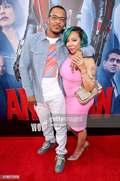 Actor/rapper Tip 'TI' Harris and singer Tameka 'Tiny' CottleHarris attend the world premiere of Marvel's 'AntMan' at The Dolby Theatre on June 29...