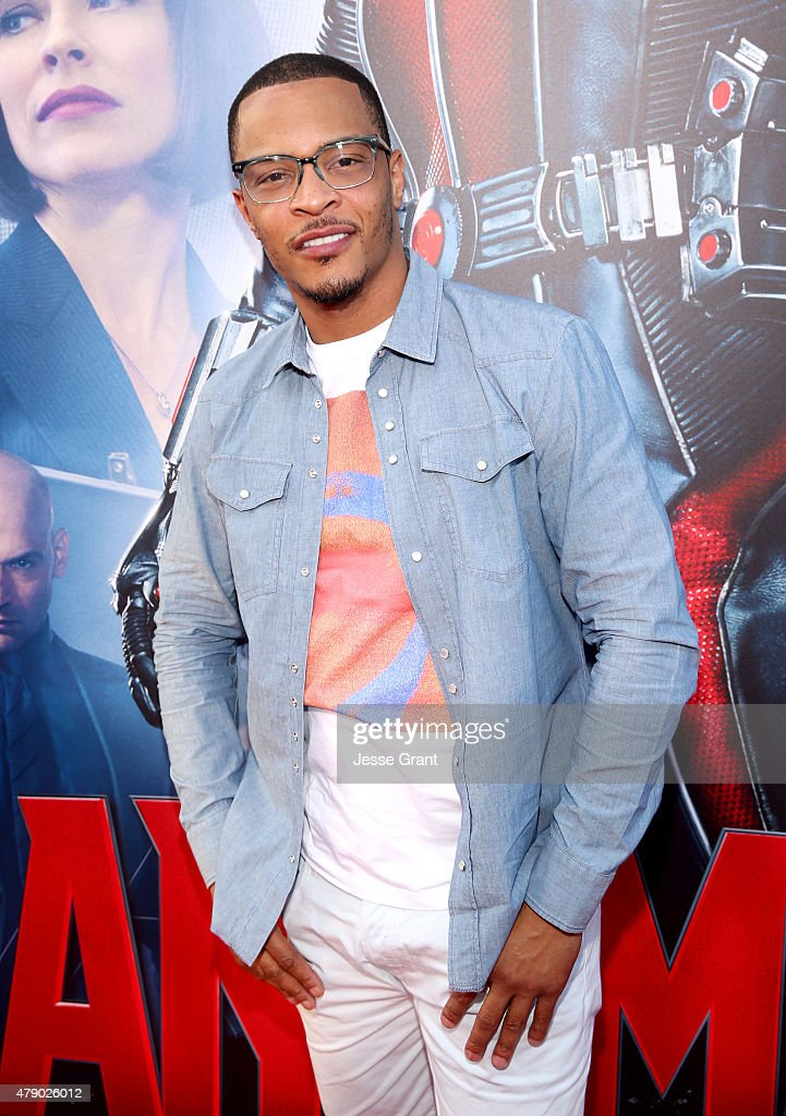 Actor/rapper Tip '<a gi-track='captionPersonalityLinkClicked' href=/galleries/search?phrase=T.I.&family=editorial&specificpeople=221599 ng-click='$event.stopPropagation()'>T.I.</a>' Harris attends the world premiere of Marvel's 'Ant-Man' at The Dolby Theatre on June 29, 2015 in Los Angeles, California.
