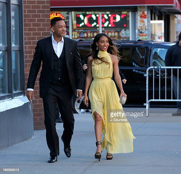 Actor/rapper Will Smith and executive producer Jada Pinkett Smith attend 'Free Angela and All Political Prisoners' New York Premiere at The Schomburg...
