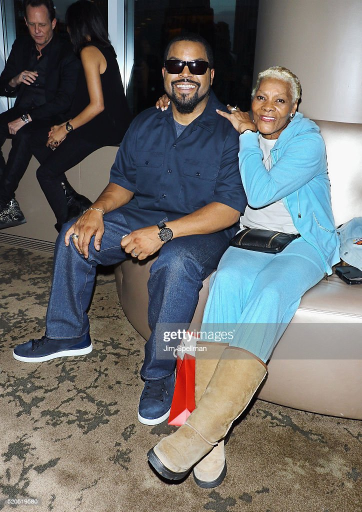Actor/rapper/producer <a gi-track='captionPersonalityLinkClicked' href=/galleries/search?phrase=Ice+Cube+-+Entertainer&family=editorial&specificpeople=202098 ng-click='$event.stopPropagation()'>Ice Cube</a> and singer <a gi-track='captionPersonalityLinkClicked' href=/galleries/search?phrase=Dionne+Warwick&family=editorial&specificpeople=213111 ng-click='$event.stopPropagation()'>Dionne Warwick</a> attend the 'Barbershop: The Next Cut' New York screening at HBO Screening Room on April 11, 2016 in New York City.