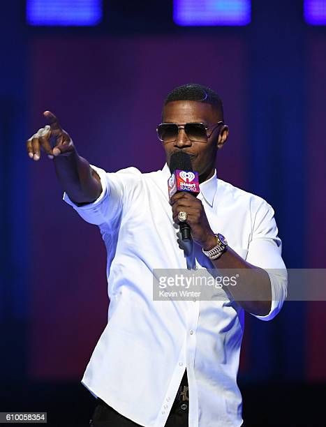 Actor/recording artist Jamie Foxx speaks onstage at the 2016 iHeartRadio Music Festival at TMobile Arena on September 23 2016 in Las Vegas Nevada