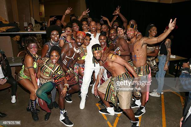 Actor/recording artist Will Smith poses with performers backstage at the 16th Latin GRAMMY Awards at the MGM Grand Garden Arena on November 19 2015...