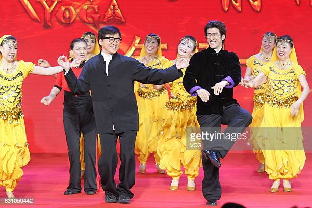 Actors Aarif Lee and Jackie Chan attend 'KungFu Yoga' press conference on January 5 2017 in Beijing China