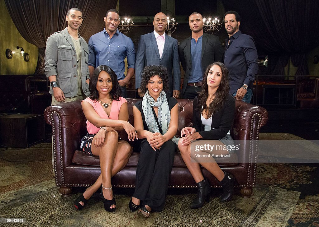 Actors Aaron D. Spears, Lawrence Saint Victor, Kevin Frazier, Redaric Williams, Kristoff St. John, Angell Conwell, Karla Mosley and Christel Khalil attend Kevin Frazier hosts roundtable discussion with CBS Daytime's NAACP Award Nominees at The Sayers Club on February 14, 2014 in Hollywood, California.