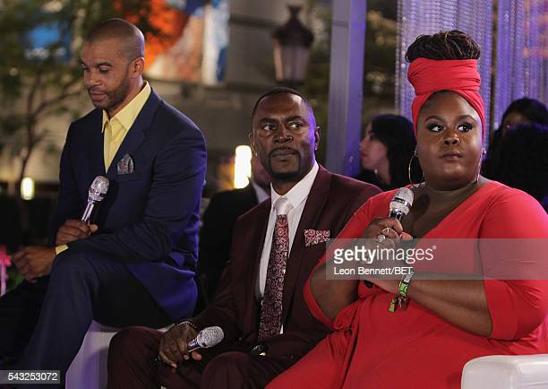 Actors Aaron D Spears Richard Brooks and Raven Goodwin attend the BET Awards post show in the Cricket Lounge after the 2016 BET Awards on June 26...