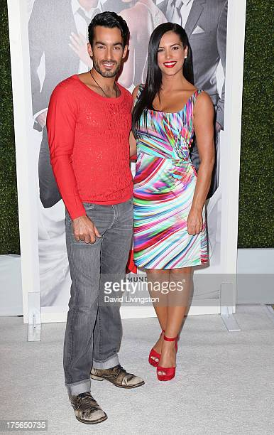 Actors Aaron Diaz and Gaby Espino attend the Telemundo press annoucement for 'Santa Diabla' at theRegent Beverly Wilshire Hotel on August 5 2013 in...