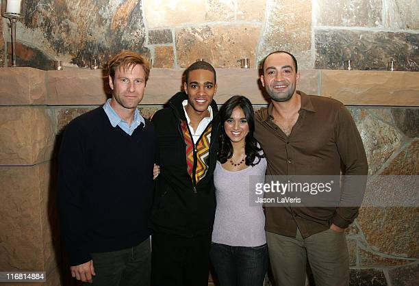 Actors Aaron Eckhart Eugene Jones Summer Bishil and Peter Macdissi attend the 'Towelhead' party during the 2008 Sundance Film Festival on January 24...