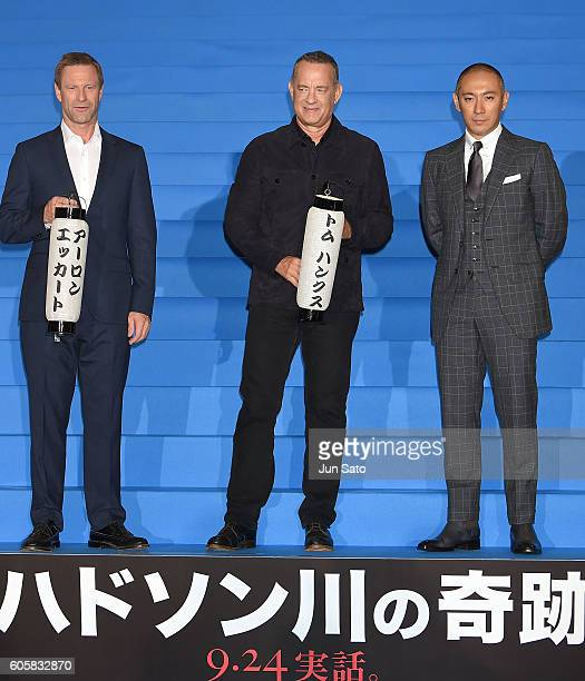 Actors Aaron Eckhart Tom Hanks and Ebizo Ichikawa attend the 'Sully' Tokyo Premiere at Yurakucho Mullion on September 15 2016 in Tokyo Japan