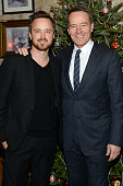 Actors Aaron Paul and Bryan Cranston attend a celebration for Bryan Cranston at House of Elyx on December 13 2015 in New York City