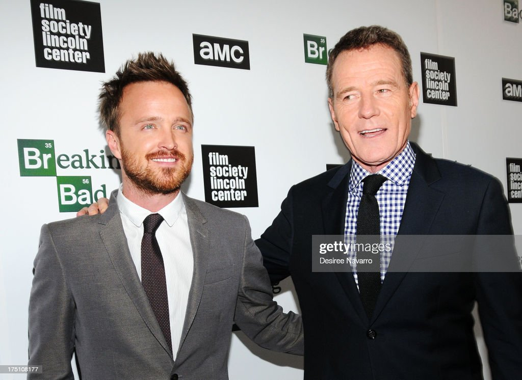 Actors <a gi-track='captionPersonalityLinkClicked' href=/galleries/search?phrase=Aaron+Paul+-+Actor&family=editorial&specificpeople=693211 ng-click='$event.stopPropagation()'>Aaron Paul</a> and <a gi-track='captionPersonalityLinkClicked' href=/galleries/search?phrase=Bryan+Cranston&family=editorial&specificpeople=217768 ng-click='$event.stopPropagation()'>Bryan Cranston</a> attend The Film Society Of Lincoln Center And AMC Celebration Of 'Breaking Bad' Final Episodes at The Film Society of Lincoln Center, Walter Reade Theatre on July 31, 2013 in New York City.