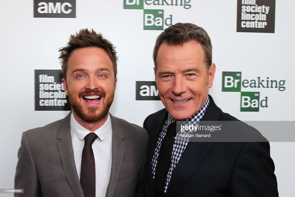 Actors <a gi-track='captionPersonalityLinkClicked' href=/galleries/search?phrase=Aaron+Paul+-+Actor&family=editorial&specificpeople=693211 ng-click='$event.stopPropagation()'>Aaron Paul</a> and <a gi-track='captionPersonalityLinkClicked' href=/galleries/search?phrase=Bryan+Cranston&family=editorial&specificpeople=217768 ng-click='$event.stopPropagation()'>Bryan Cranston</a> attends The Film Society of Lincoln Center and AMC Celebration of 'Breaking Bad' Final Episodes at The Film Society of Lincoln Center, Walter Reade Theatre on July 31, 2013 in New York City.