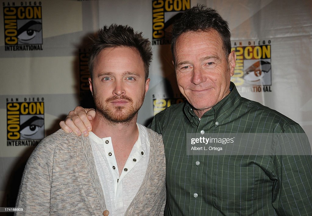 Actors <a gi-track='captionPersonalityLinkClicked' href=/galleries/search?phrase=Aaron+Paul&family=editorial&specificpeople=693211 ng-click='$event.stopPropagation()'>Aaron Paul</a> (L) and <a gi-track='captionPersonalityLinkClicked' href=/galleries/search?phrase=Bryan+Cranston&family=editorial&specificpeople=217768 ng-click='$event.stopPropagation()'>Bryan Cranston</a> speak onstage at the 'Breaking Bad' panel during Comic-Con International 2013 at San Diego Convention Center on July 21, 2013 in San Diego, California.