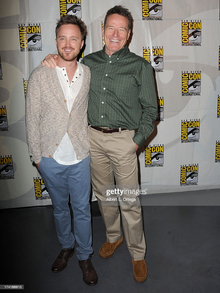 Actors Aaron Paul (L) and Bryan Cranston speak onstage at the 'Breaking Bad' panel during Comic-Con International 2013 at San Diego Convention Center on July 21, 2013 in San Diego, California.