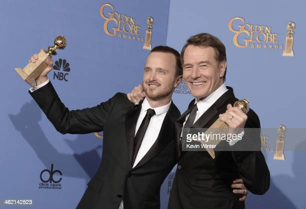 Actors Aaron Paul and Bryan Cranston winners of Best Series – Drama for 'Breaking Bad' pose in the press room during the 71st Annual Golden Globe...