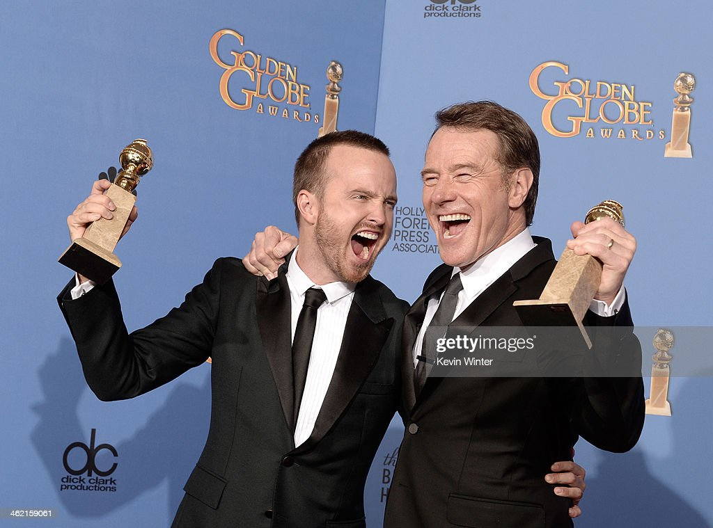 Actors Aaron Paul (L) and Bryan Cranston, winners of Best Series - Drama for 'Breaking Bad,' pose in the press room during the 71st Annual Golden Globe Awards held at The Beverly Hilton Hotel on January 12, 2014 in Beverly Hills, California.
