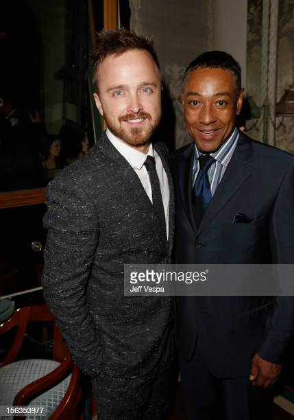 Actors Aaron Paul and Giancarlo Esposito attend the GQ Men of the Year Party at Chateau Marmont on November 13 2012 in Los Angeles California