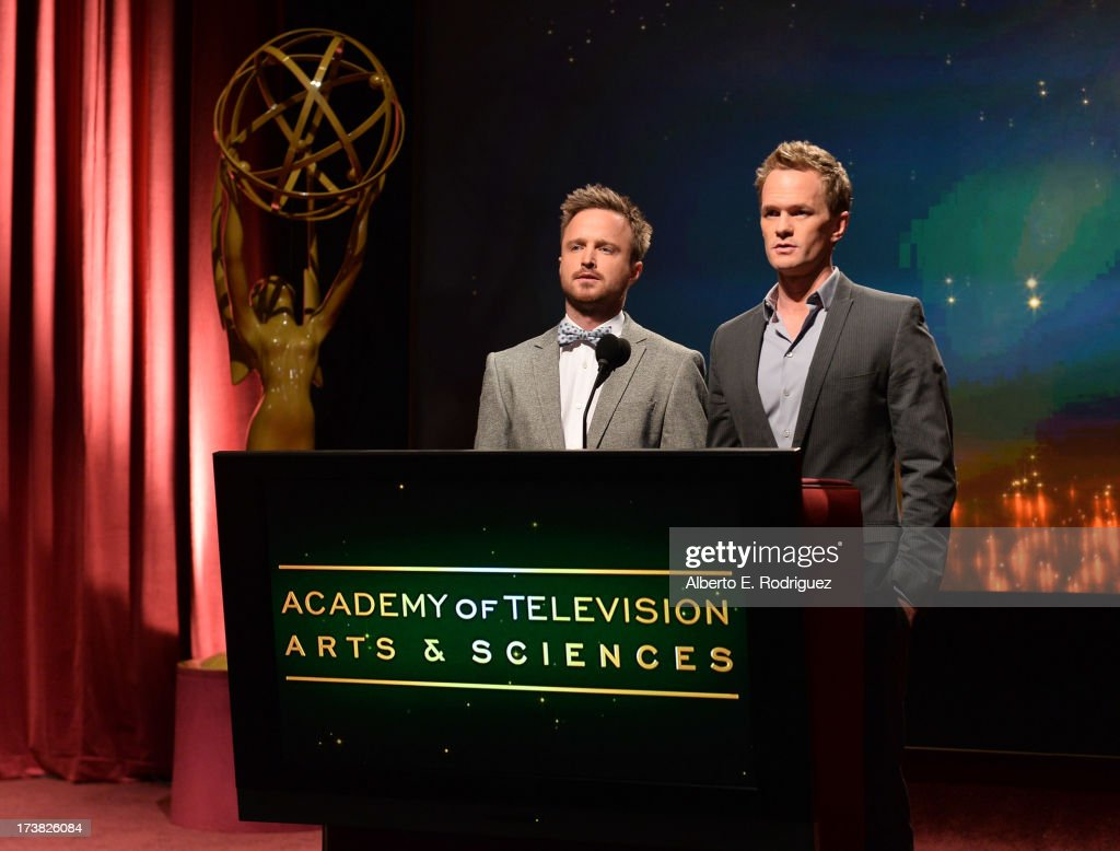 Actors <a gi-track='captionPersonalityLinkClicked' href=/galleries/search?phrase=Aaron+Paul+-+Actor&family=editorial&specificpeople=693211 ng-click='$event.stopPropagation()'>Aaron Paul</a> (L) and <a gi-track='captionPersonalityLinkClicked' href=/galleries/search?phrase=Neil+Patrick+Harris&family=editorial&specificpeople=210509 ng-click='$event.stopPropagation()'>Neil Patrick Harris</a> announce the nominees for the 65th Primetime Emmy Awards nominations at the Television Academy's Leonard H. Goldenson Theatre on July 18, 2013 in North Hollywood, California.