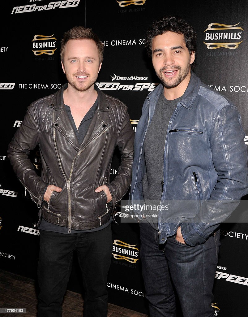 Actors <a gi-track='captionPersonalityLinkClicked' href=/galleries/search?phrase=Aaron+Paul&family=editorial&specificpeople=693211 ng-click='$event.stopPropagation()'>Aaron Paul</a> (L) and <a gi-track='captionPersonalityLinkClicked' href=/galleries/search?phrase=Ramon+Rodriguez&family=editorial&specificpeople=73608 ng-click='$event.stopPropagation()'>Ramon Rodriguez</a> attend DreamWorks Pictures' 'Need For Speed' screening hosted by The Cinema Society and Bushmills on March 11, 2014 in New York City.