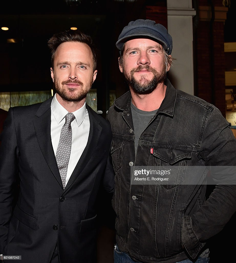 Actors Aaron Paul and Zachary Knighton attend the after party for the premiere of Saban Films' 'Come And Find Me' at Umami Burger on November 3, 2016 in Los Angeles, California.