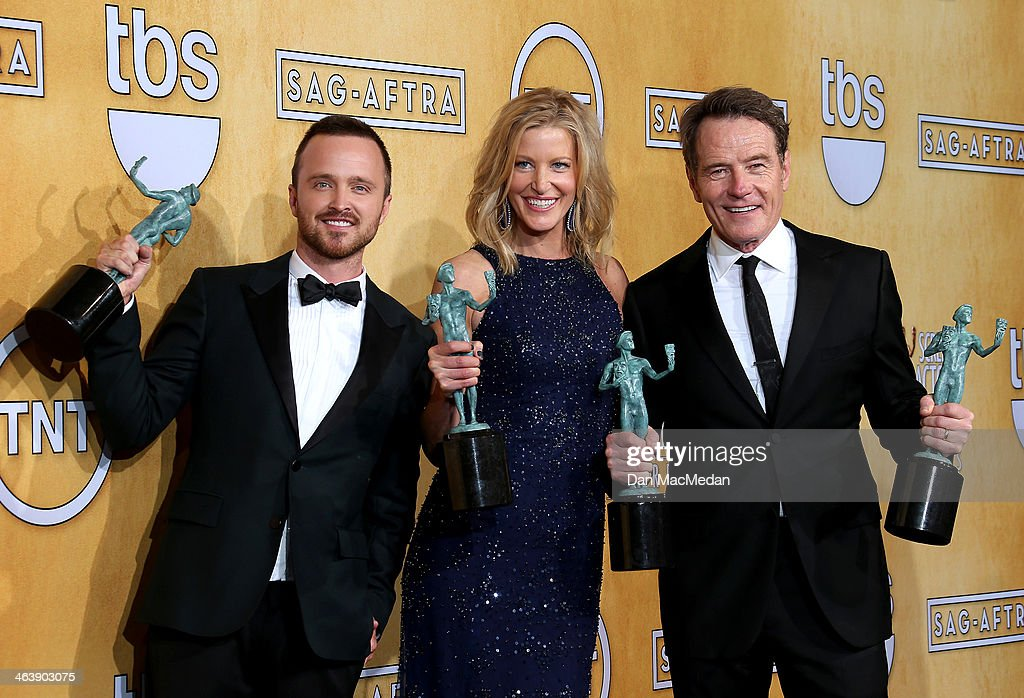 Actors <a gi-track='captionPersonalityLinkClicked' href=/galleries/search?phrase=Aaron+Paul+-+Actor&family=editorial&specificpeople=693211 ng-click='$event.stopPropagation()'>Aaron Paul</a>, <a gi-track='captionPersonalityLinkClicked' href=/galleries/search?phrase=Anna+Gunn&family=editorial&specificpeople=589359 ng-click='$event.stopPropagation()'>Anna Gunn</a> and <a gi-track='captionPersonalityLinkClicked' href=/galleries/search?phrase=Bryan+Cranston&family=editorial&specificpeople=217768 ng-click='$event.stopPropagation()'>Bryan Cranston</a> pose in the press room with the award for Outstanding Performance by an Ensemble in a Drama Series for 'Breaking Bad' at the 20th Annual Screen Actors Guild Awards at the Shrine Auditorium on January 18, 2014 in Los Angeles, California.