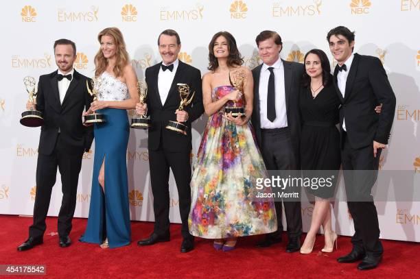 Actors Aaron Paul Anna Gunn Bryan Cranston Betsy Brandt Jesse Plemons Laura Fraser and RJ Mitte winners of Outstanding Drama Series Award Outstanding...